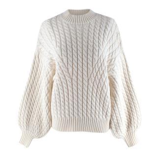 Zimmermann Cream Cable-Knit Merino Wool Jumper