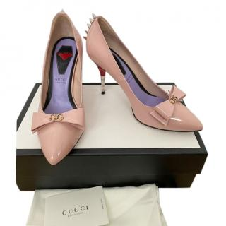 Gucci Pale Pink Patent Spiked Pumps