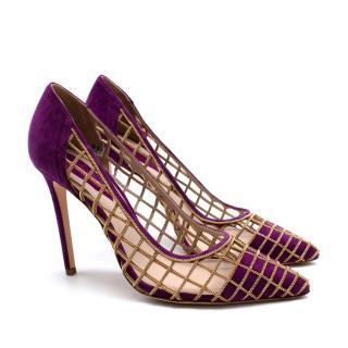 Elie Saab Purple Suede Gold-tone Chain-details Heels