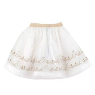 Mi Mi Sol White & Gold Embroidered Tulle Skirt