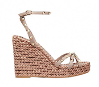 Valentino Poudre Rockstud Rope Wedge Sandals
