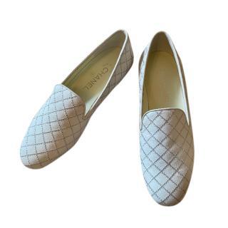 Chanel White Diamond Stitch CC Loafers