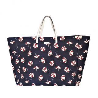Gucci Navy Sunny Print Canvas Tote Bag