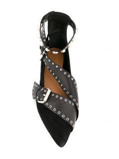 Isabel Marant Suede & Leather Linzy Wrap Ballerinas