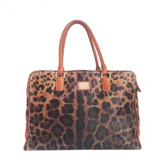 Dolce & Gabbana Leather Trim Leopard Print Weekender