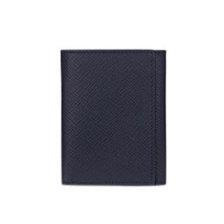 Smythson Navy Crossgrain 3-Fold Wallet
