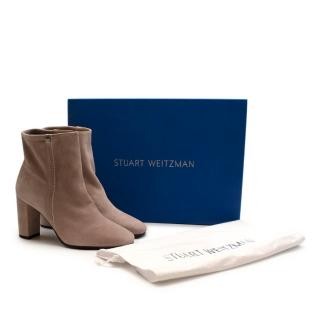 NR Stuart Weitzman Baby Pink Suede Ankle Boots