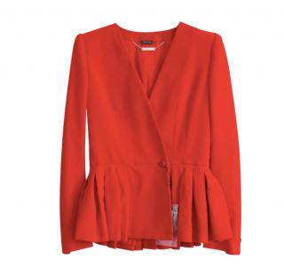 Alexander McQueen Red Tailored Peplum Jacket