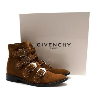 Givenchy Brown Suede Studded Ankle Boots