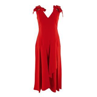 Alberta Ferretti Red Midi Dress