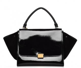 Celine Suede & Patent Leather Trapeze Bag