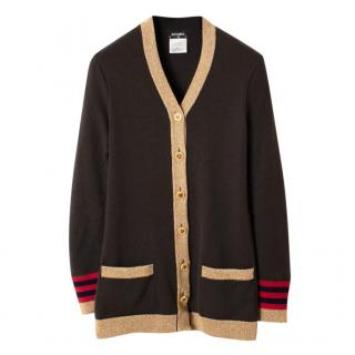 Chanel Paris/Moscow Metallic Knit Cashmere Cardigan