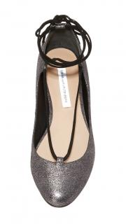 DVF Glitter Leather Lace-Up Ballerina Flats