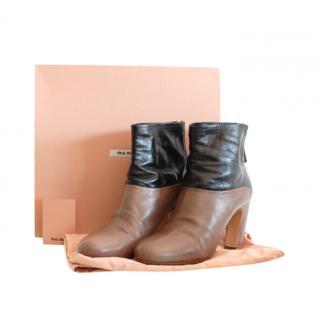 Miu Miu Bi-Colour Leather Ankle Boots