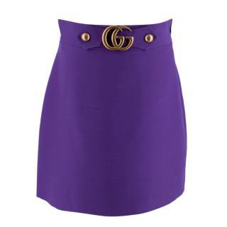 Gucci Purple Silk & Wool Crepe GG Skirt
