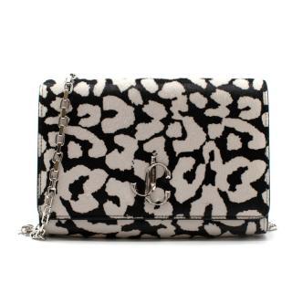Jimmy Choo Black & White Leopard Print Shoulder Bag