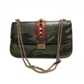 Valentino Garavani Khaki Glamlock Shoulder Bag