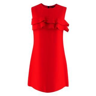Louis Vuitton Red Ruffle Detail Sleeveless Dress