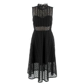 Sandro Lace Panelled HIgh Neck Black Dress
