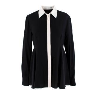 Givenchy Black & White Silk Flared Blouse