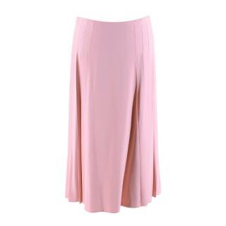 Victoria Beckham Pink Crepe Pleated Skirt