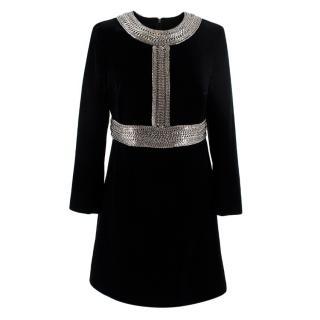 Saint Laurent black velvet chain trim mini dress
