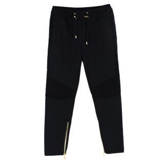 Balmain Black Biker Zip Cuff Joggers