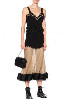Alexander McQueen Black Silk-blend And Mesh Dress