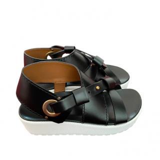 Chloe Black Strappy Leather Platform Sandals