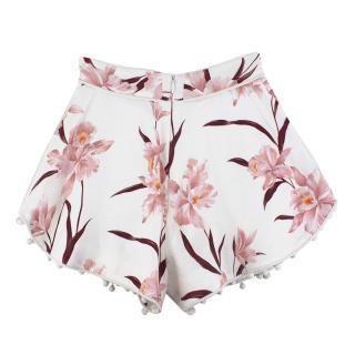 Zimmermann White Floral Corsage Bauble Shorts