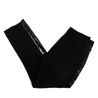 Victoria Victoria Beckham Black Crepe Sequin Stripe Tailored Trousers