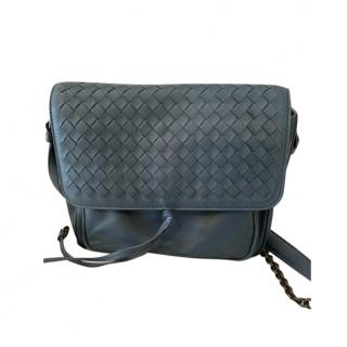 Bottega Veneta Petrol Blue Intrecciato & Smooth Leather Flap bag