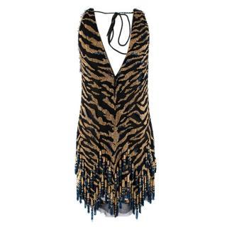 Roberto Cavalli Black Blue & Gold Silk Beaded Tiger Mini Dress