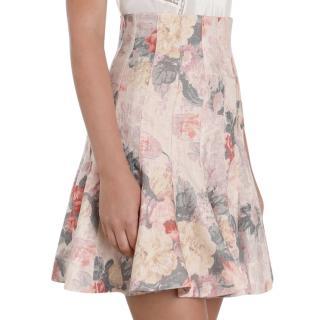 Zimmermann Pink Floral Radiate Flip Skirt