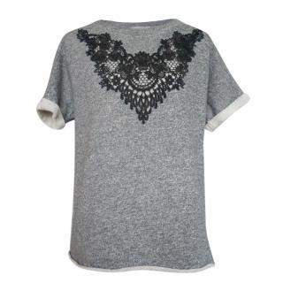 Sandro Lace Trim Grey Sweatshirt