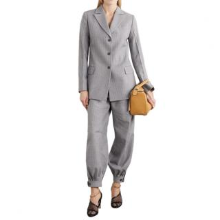 Loewe Grey Pinstripe Wool & Silk Blazer