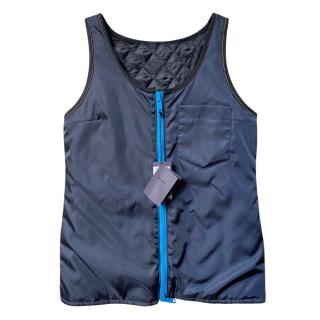 Prada Navy Nylon Zip-Front Vest Top