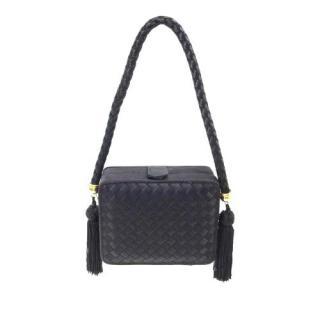 Bottega Veneta Black Satin Intrecciato Tassel Shoulder Bag