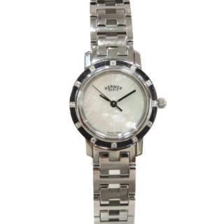 Hermes Diamond Clipper Nacre Stainless Steel Watch