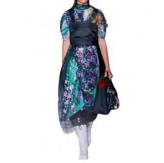 Prada Silk Digital Flower Printed Runway Dress