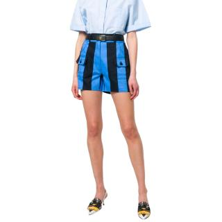 Prada Blue & Black Striped Tailored Shorts
