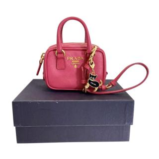 Prada Pink Saffiano Leather Mini Tamaris Cat Charm Bag