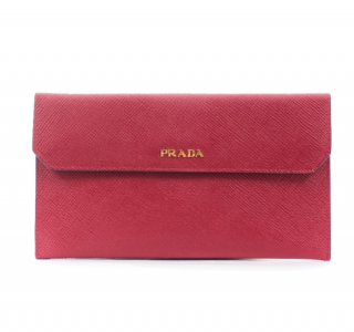 Prada Red Saffiano Leather Pouch/Wallet