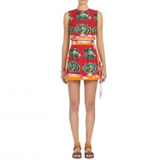 Dolce & Gabbana Cabbage Print Mini Wrap Skirt