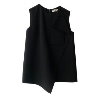 Balenciaga Black Crepe Sleeveless Asymmetric Top