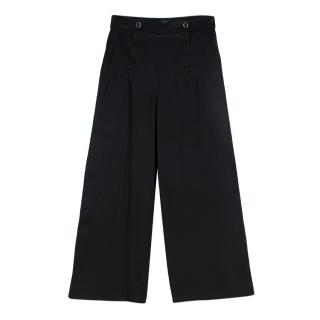 Chanel Black Satin Flared Trousers
