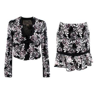 Giambattista Valli Floral Embroidered Cropped Jacket And Skirt