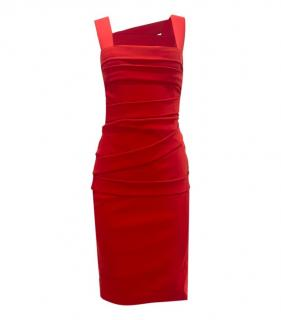 Preen By Thornton Bregazzi Red Stretch Crepe Fitted Dress