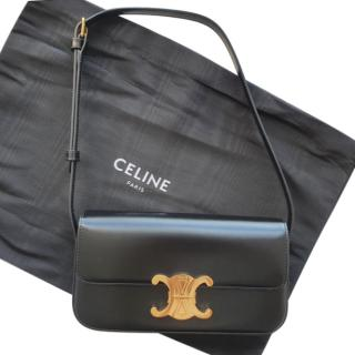 Celine Black Glossy Calfskin Triomphe Shoulder Bag
