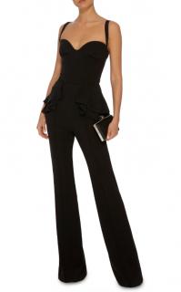 Elie Saab Black Peplum Sleeveless Jumpsuit